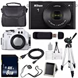 Nikon 1 J4 Mirrorless Digital Camera with 10-30mm Lens (Black) (International Model No Warranty) + Nikon WP-N3 Waterproof Housing + 8GB SDHC Memory Card + 6AVE Bundle