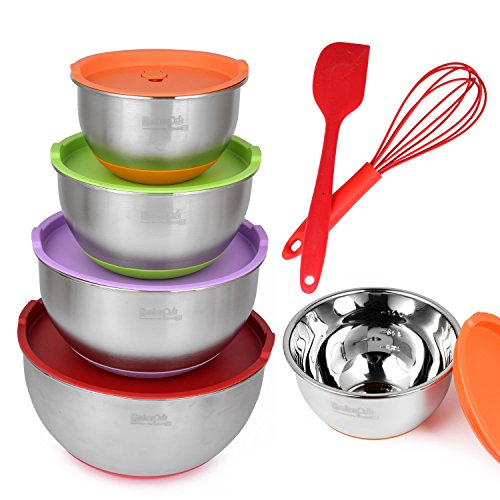 Mixing Bowl Set With Lids - Stainless Steel, Nesting for Easy Storage, Non-Slip Silicone Bottom, 4 Polished Mirror Finish Bowls - Bonus Whisk & Spatula (by KitchenPalz)