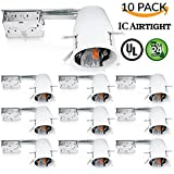"""Sunco Lighting 10 PACK - 4"""" inch Remodel LED Can Air Tight IC Housing LED Recessed Lighting- UL Listed and Title 24 Certified, TP24"""