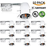 Sunco Lighting 10 PACK - 4'' inch Remodel LED Can Air Tight IC Housing LED Recessed Lighting- UL Listed and Title 24 Certified, TP24