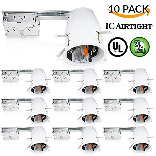 Sunco Lighting 10 PACK - 4' inch Remodel LED Can Air Tight IC Housing LED Recessed Lighting- UL Listed and Title 24 Certified, TP24