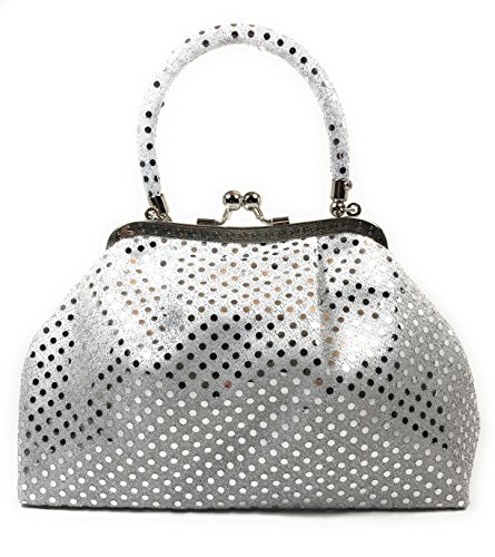 - Handbag FabCloud Eve metallic white dot by WiseGloves bag handbag accessory bag clutch purse