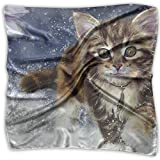 Polyester Lady's Handkerchief Scarf Women's Cat Square Satin Headscarf M