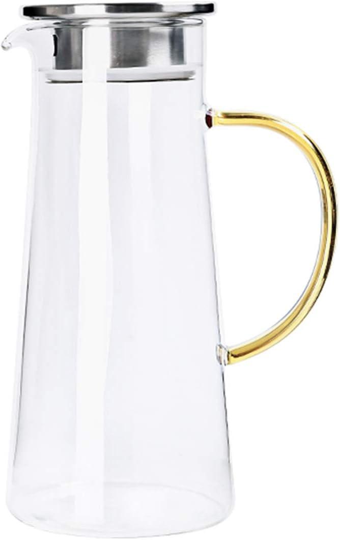 Jarra de agua con tapa filtrada, jarra de cristal de 1400 ml, jarra de agua para jugo de té caliente, apta para nevera y estufa