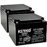 KEYKOGenuine KT-12260 12V 26Ah / REAL 26 Amp Battery SLA Sealed Lead Acid / AGM Replacement - IT Threaded T-0 Terminal - 2 Pack