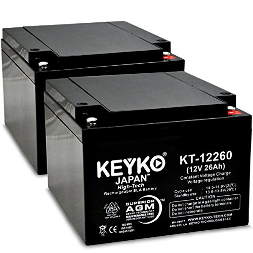 KEYKOGenuine KT-12260 12V 26Ah / REAL 26 Amp Battery SLA Sealed Lead Acid / AGM Replacement - IT Threaded T-0 Terminal - 2 Pack by KEYKO