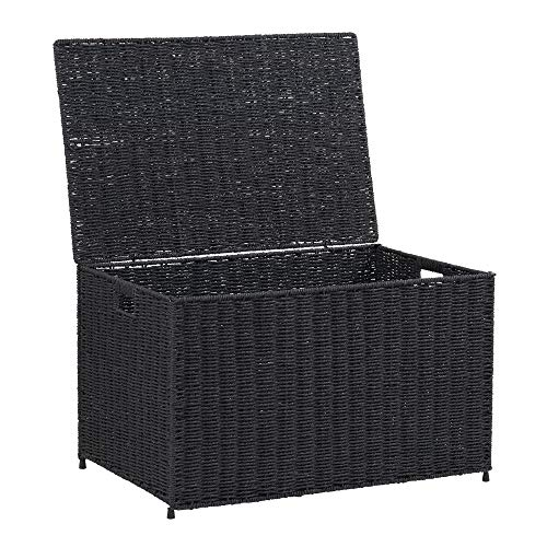 Household Essentials ml-7135 Decorative Wicker Chest Lid Storage Organization, Large, Black by Household Essentials