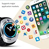 Cywulin Smart Watch Fitness Tracker, Multi-Function Smart Band Bracelet IP67 Waterproof Android Quad Core 5.1 3G LTE, Camera, GPS, WiFi, Heart Rate Monitor for iOS Android Men Women (512M+8G, Silver)