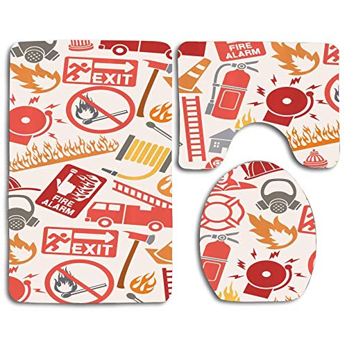 RiuianaBVCc Firefighting Themed Icons Pattern Emergency Exit Alarm Flames Matches Heroes Skidproof Toilet Seat Cover Bath Mat Lid Cover 3 Piece Non Slip Bath Rug Mats Sets