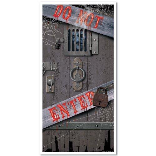 Haunted Halloween Door Cover Party Accessory (1 count) (1/Pkg) Pkg/3]()