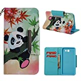 Leather Wallet Case for Samsung Galaxy J7 2018/Samsung Galaxy J7 Refine/Samsung Galaxy J7 Aero,Shinyzone Cute Cartoon Animal Panda Painted Flip Stand Case Cover