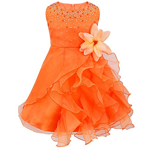 (TiaoBug Baby Girls Organza Rhinestone Wedding Birthday Party Flower Girl Dress Pageant Baptism Christening Gown Orange 3T)