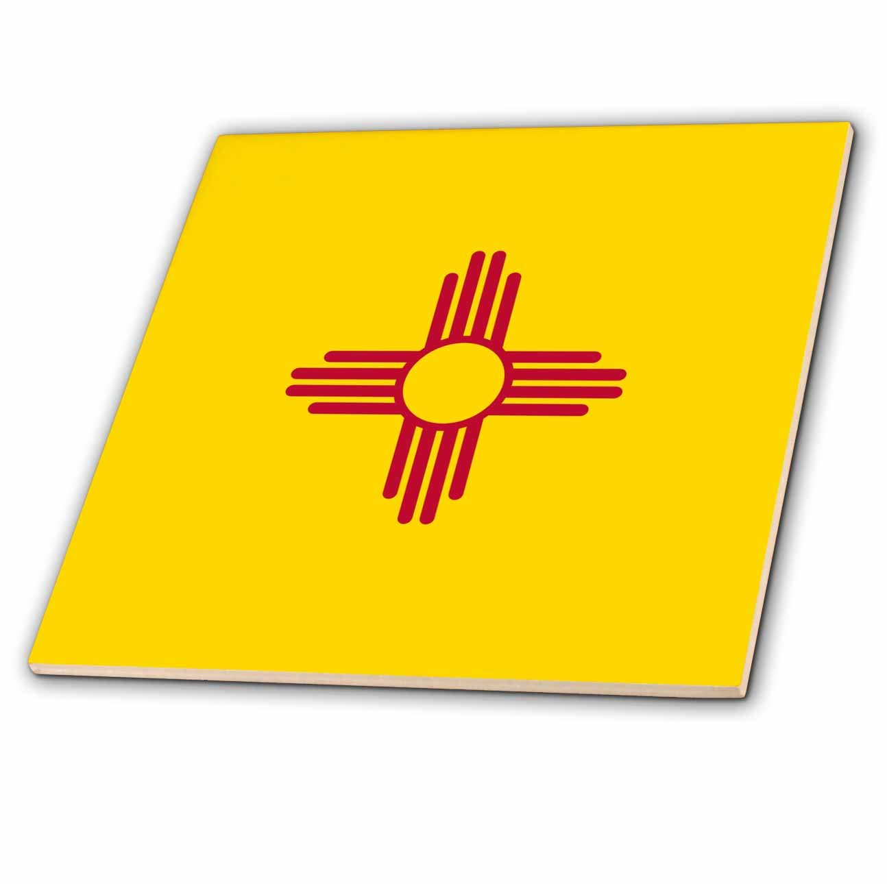3dRose ct_158391_3 Flag of New Mexico Us American United State of America Usa Red Sun Symbol of The Zia on Yellow Ceramic Tile, 8-Inch by 3dRose