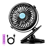 Stroller Fan Clip on - USB and 2600mAh Battery Powered Baby Fan - 2 in 1 Desk & Clip Fan - Lightweight & Portable - 360 Degree Rotation for Baby Stroller Carseat Office Outdoor