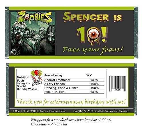 Zombies Birthday Chocolate Bar Wrappers, Party Favors (set of (Halloween Fear Factor Party Ideas)