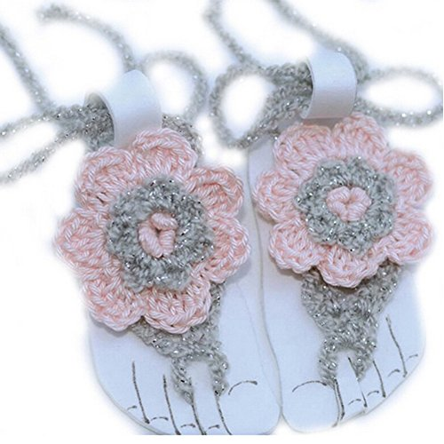 Pure Handmade Knit Flowers Barefoot Sandals Infant Toddler Baby Feet Decoration - Of Town Cape Africa Out Store