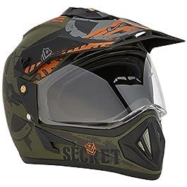 Vega Off Road D/V Secret Helmet- (Dull Green Black Size-L