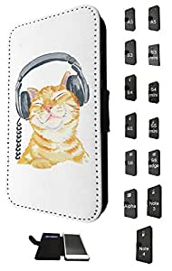 951 - Cool cute fun illustration cat kitten headphone cat doodle feline funny kawaii love pet Design Nokia Lumia 630 Fashion Trend TPU Leather Flip Case Full Case Flip Credit Card TPU Leather Purse Pouch Defender Stand Cover