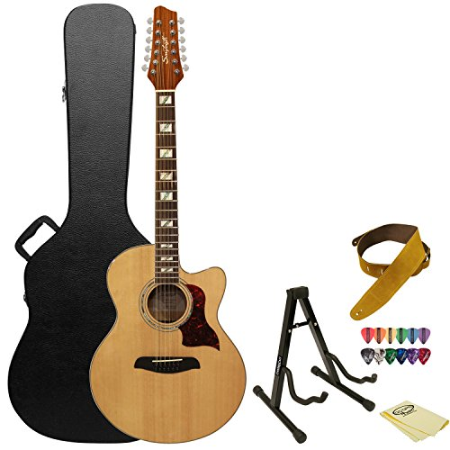 Sawtooth Maple Series 12-String Acoustic-Electric Cutaway Jumbo Guitar with Hard Case and Accessories