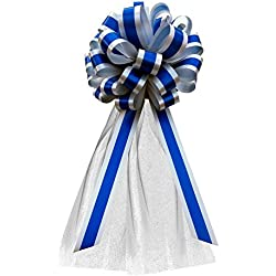 "Royal Blue & Silver Striped Wedding Pull Bows with Tulle Tails - 8"" Wide, Set of 6"