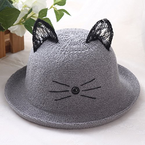 RangYR Women's Hat Ms Cap Flat Cap Charlie Cat Ear Hooded Hat Casual Fisherman Hat Straw Hat Fit Head Circumference 56Cm-58Cm One Size Grey (Hat Womens Charlie Adjustable)