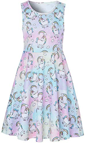 (Girl's Unicorn Dresses Floral Rainbow A-line Skirt Vintage for Wedding Party Summer Casual Dresses Softy for Girls Cocktail Picnic Dresses White M Size (6-7T))