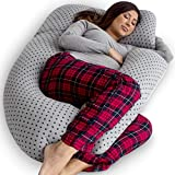 : PharMeDoc Pregnancy Pillow, U-Shape Full Body Pillow and Maternity Support with Detachable Extension - Support for Back, Hips, Legs, Belly for Pregnant Women