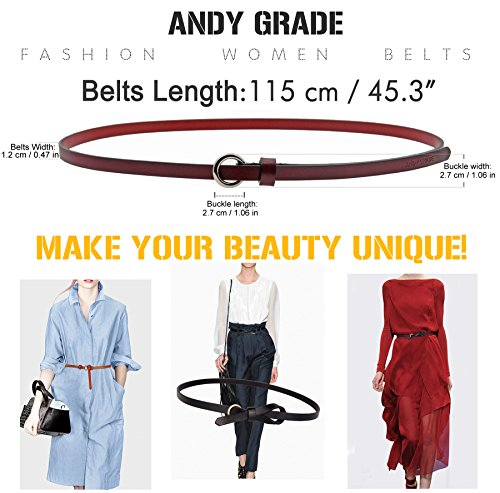 Set of 5 Women's Genuine Cowhide Leather Belts Stylish Thin Dresses Fashion Vintage Casual Skinny Belt for Jeans Shorts Pants Summer for Women With Alloy Buckle By ANDY GRADE by ANDY GRADE (Image #5)