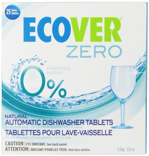 Tablets Ecover Automatic Dishwashing (Ecover Automatic Dishwashing Tablets Zero, 25 Count, 17.6 Ounce (Pack of 5))