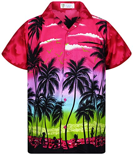 (V.H.O. Funky Hawaiian Shirt, Shortsleeve, Beach, Pink, 6XL)