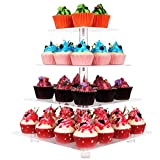 4 Tier Square Clear Acrylic Cupcake display stands with BASE and screw connection, stronger and more stable,Christmas Wedding Birthday Party cake stand, Food display shelf. (4 Tier Square with BASE)