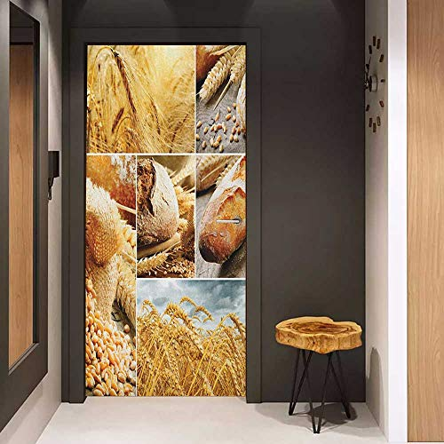 Onefzc Wood Door Sticker Harvest Various Stages of Bread Making from Wheat to Final Product Collage Pattern Easy-to-Clean, Durable W38.5 x H79 Earth Yellow Brown