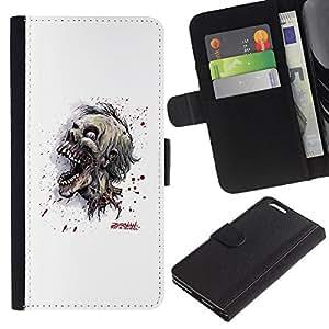 YiPhone /// Tirón de la caja Cartera de cuero con ranuras para tarjetas - Cráneo Zombie Evil - Apple Iphone 6 PLUS 5.5