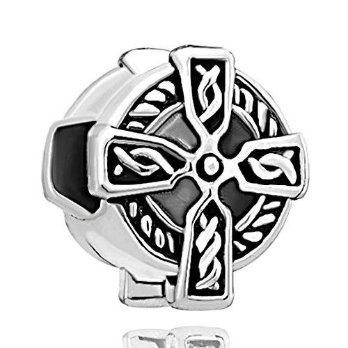 Pugster Silver Plated Celtic Claddagh Irish Cross Charm Fits Pandora Bead Bracelet
