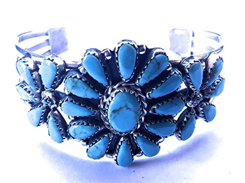- Nizhoni Traders LLC Navajo Turquoise and Sterling Silver Cluster Cuff Signed and Stamped