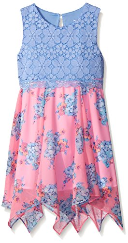 Rare Editions Big Girls' Lace To Chiffon Print Dress, Lilac/Pink, ()