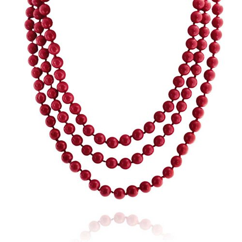 Bling Jewelry Red Endless Layering Long Strand Boho Fashion Simulated Coral Beads Necklace for Women for Teen 69 Inch