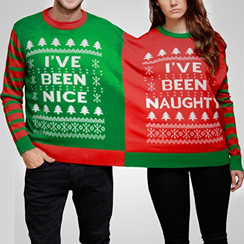 Transer ® Naughty et Nice double cavalier de Noël pull Twin 2 Top Xmas deux
