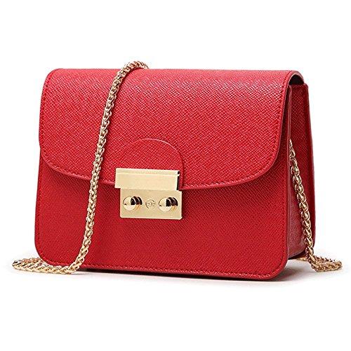 LDZY Cierre De Hebilla De Las Mujeres Messenger Bag Chain Bolso De La Vendimia Bolsos De Hombro De La Manera Mini Bolsos Pequeños Crossbody Bolsos Red