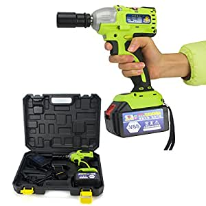 Focussexy Impact Wrench Set Power Tools 18V-88V Li-ion 1/2 inch Electric Cordless Brushless / Cordless Charging Impact Wrench 420Nm Torque 12000 mah Lithium Ion Battery + Box