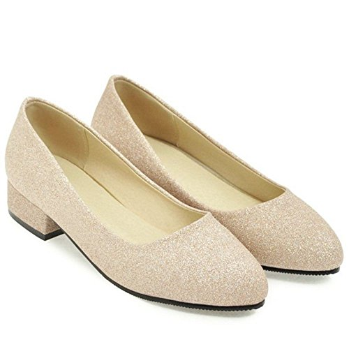 Tacon RAZAMAZA Bajo Gold Zapatos Para Mujer Ancho de qSvEgSF