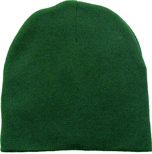 Acrylic Short Beanie (Simplicity Men & Women's Winter Beanie/Short Skull Cap in Acrylic, Forest Green)