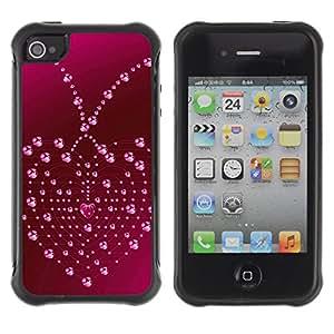Pulsar Defender Series Tpu silicona Carcasa Funda Case para Apple iPhone 4 / iPhone 4S , Love Heart Drops