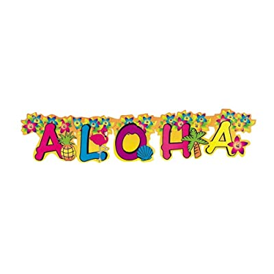 Aloha Jointed Banner - Party Decor - 1 Piece : Toys And Games : Garden & Outdoor [5Bkhe0306424]