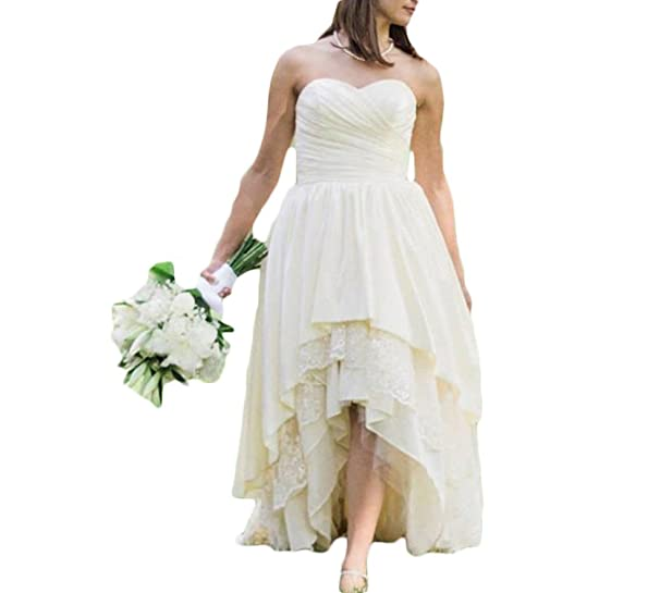 Mr.ace Homme High Low Sweetheart Wedding Dresses Boho Vintage Bridal Gowns
