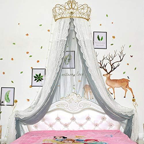 レースベッドキャノピー,皇太子妃 ダブル カラー ベッド カーテン 装飾的なドレープメタルクラウンと寝室のためのライトと裁判所の蚊帳-g