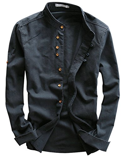 utcoco Men's Vintage Linen Stand Collar Button Up Shirt Long Sleeve (X-Large, Navy Blue)