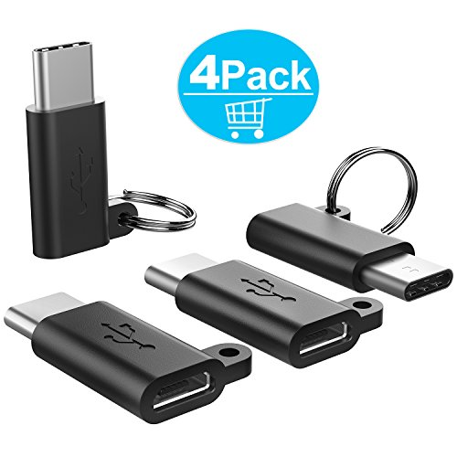 USB C Adapter,Type C Adapter,TechRise 4-Pack USB C to Micro USB Adapter Converter Connector with Keychain for MacBook,ChromeBook Pixel,Nexus 5X,Nexus 6P, HTC 10, LG G6, G5 and More