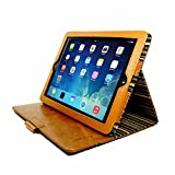 Alston Craig Personalised Vintage Genuine Leather Slim-Stand Case Cover for Apple New iPad (2017 & 2018) - Brown