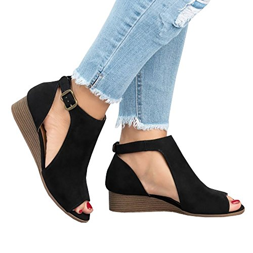 SySea Womens Low Heel Ankle Buckle Cut Out Wedge Block Stacked Peep Toe Platform Boots